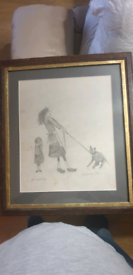 Original pencil on paper drawing by l.s lowry