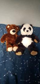 X2 Build-A-Bear Teddies (Brown Bear & Panda)