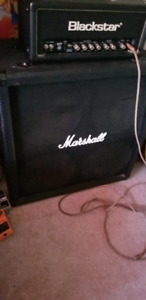 blackstar 5watt tube head and 4x12 marshall cab.