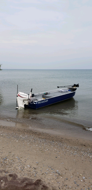 16' mirrocraft fisherman, 25hp evinrude etec and trailer