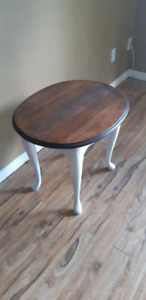 End table coffee table solid wood refurbished  walnut on white