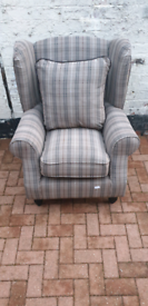 DENTON GRACE CHENILLE FABRIC WING ARMCHAIR IN CHECK - RRP £299