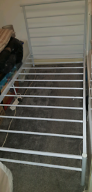 Single Metal Bed Frame (White) with free delivery!