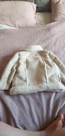 GIRLS 12-18mnths riverisland cream suede faux fur biker coat ex con