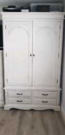 Solid wood double white shabby chic wardrobe