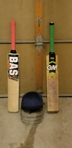 Used GM and BAS cricket bats plus SS helmet