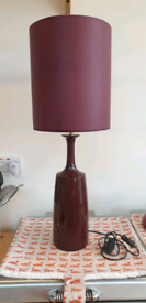 Burgundy / aubergine coloured lamp and shade