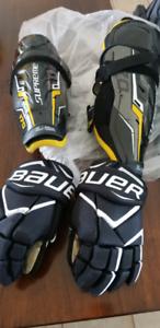 Junior Bauer Shin pads and hockey Gloves