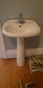 White pedestal sink $20