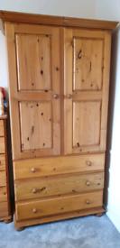 Pine wardrobes, bedsides, mirror, chest drawers