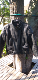 JTS Black Leather Motorcycle Jacket. Size Small.