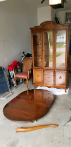 French colonial table 6 chairs and hutch