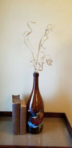 Vintage Tall Brown Glass Hand Painted Pheasant Decorative Bottle