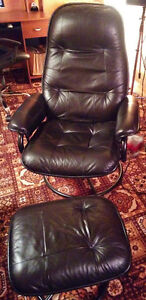 Black reclining chair with footstool
