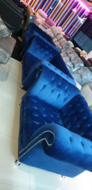 BLUE CHESTERFIELD 3&1&1 SEATER SOFA SET FREE LOCAL DELIVERY