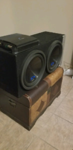"""Two 12"""" type s subwoofers with amp"""