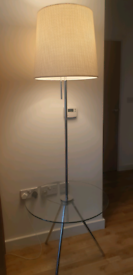 Lamp with integrated glass table