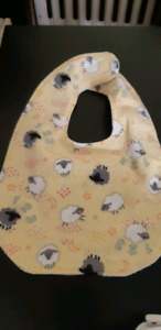 Embroidered flannel baby bibs set of three reversible