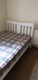 Small Double Bed with Mattress - White Painted Wood