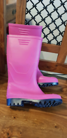 Size 2 NEW pink Wellington boots shoes wellies
