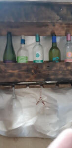 Homemade woodwork dog food stands and wine racks