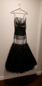 Silver and black prom dress