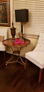 Vintage Brass RAIL Marquetry Wood Pedestal Accent Table
