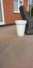 Tall white garden pot