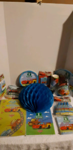 Box full of 1st year Birthday Party Items - Cars Theme