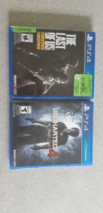 The last of us Remastered - Uncharted 4 A thief's  end PS4