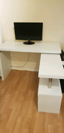 White wooden office desk with 360 swivel and shelves