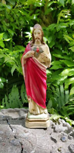 Vintage Solid Plaster Religious Sacred Heart Of Jesus Statue