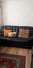 Black leather settees for sale