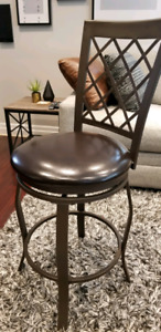 SET OF 6! Espresso High Back Swivel Bar Stools, great condition!