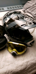Snowmobile Helmet and goggles