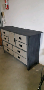 Dresser rustic refurbished black on wax silvertone