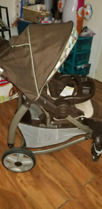 Stroller and car seat with base.
