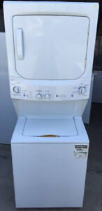 GE Large Stacked Washer Dryer, 1 year warranty