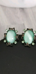 Vintage Crystal And Green Stone Earrings