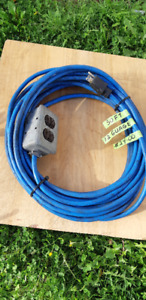50 FOOT 12 GUAGE EXTENSION CORD WITH 3 OUTLET METAL BOX