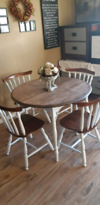 Dining set rustic gelcoat on white matching chairs