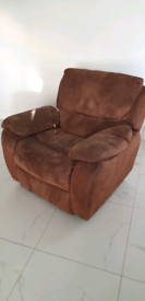 Reclining suede leather armchair with rocking motion