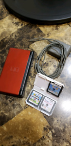 Red Nintendo DS Lite w/ charger