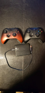 2 Xbox One Controllers and 1Tb external hard drive