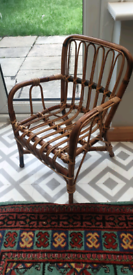 Vintage children's kid's child's toddler chair with arms rattan bamboo
