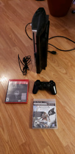 PS3 console + 3 games + wireless controler