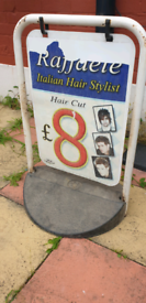 Barber shop pavement sign