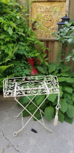 Vintage Wrought Iron Folding Butlers Tray Table,Bar Cart