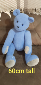 Lovely blue bear 60cm tall freshly washed, small mark on foot. £5 smok