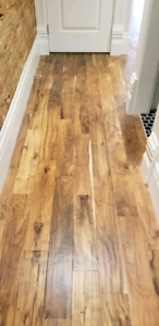 Engineered walnut flooring. 4.75 in wide plank. 5/8 in thick